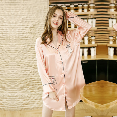 Women Satin Fashion   Sleepshirts   Summer Autumn Cute Cartoon   Nightgown   Homewear Sexy Mini   Sleepshirts   Nightdress Elegant Sleepwear