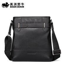 Brand BISON DENIM Handbag Men Genuine Leather Shoulder Bags Business Travel Cowhide Crossbody Bag Tote Bag Men's Messenger Bag