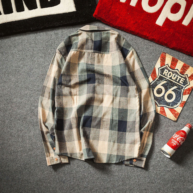 Check Shirts For Men Loose Men Button Up (6)