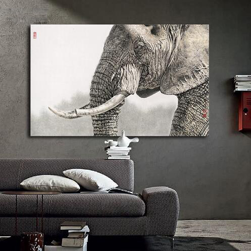 Single Blacku0026White Elephant Painting Modern Home Living Room Wall Decor HD  Print Picture Photography Animal Canvas Part 91