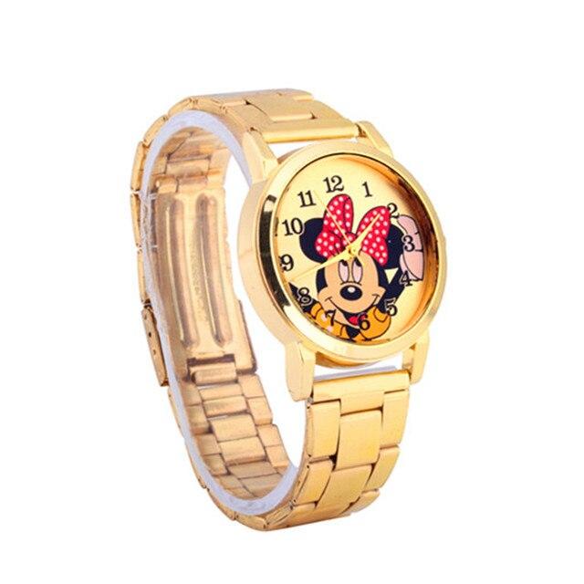 children cartoon watch women Dress watches Men Mickey Minnie Cute stainless stee