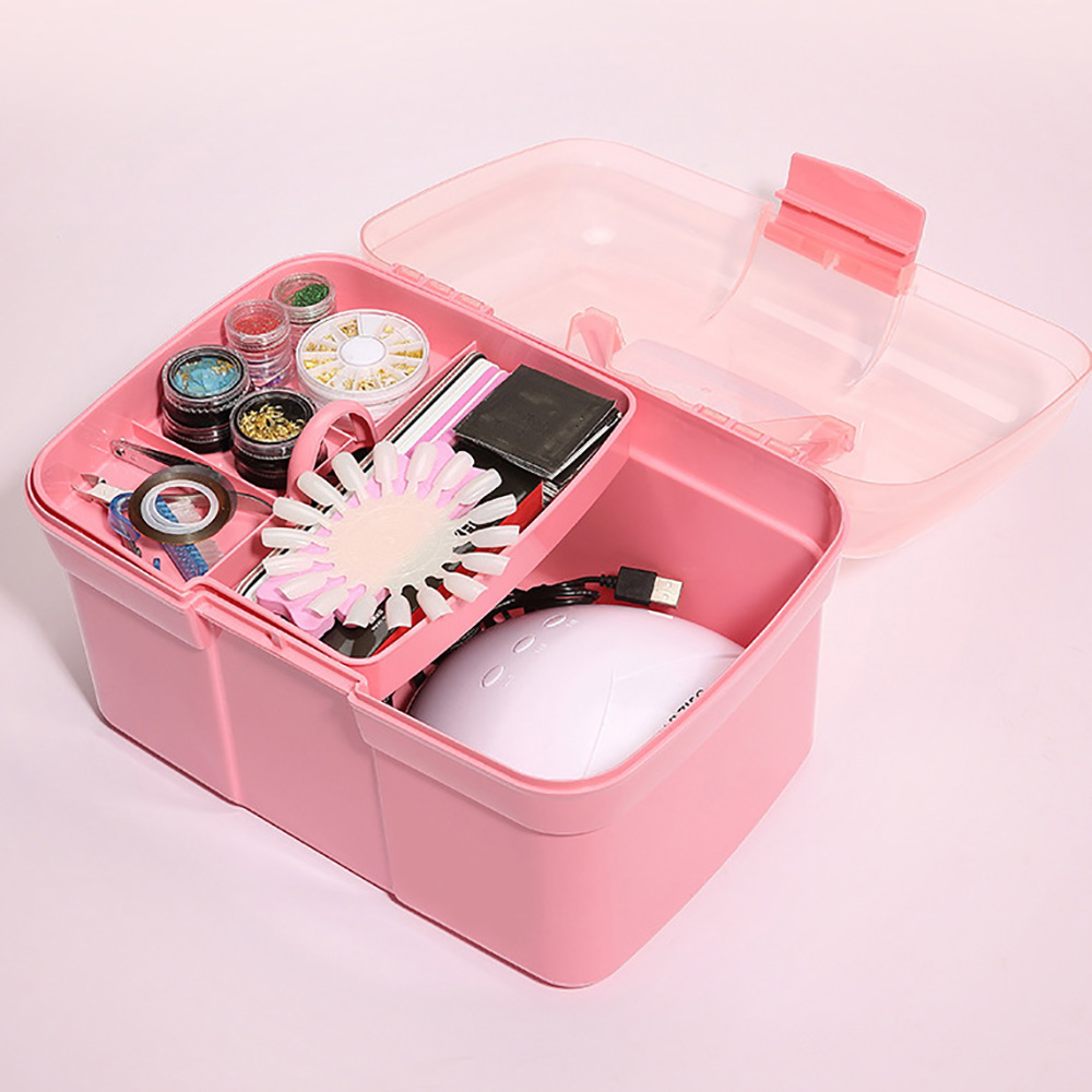 Hand-held Desktop Nail Art Storage Box Plastic Scissors Makeup Organizer Jewelry Nail Polish Pen Container Manicure Tool Case