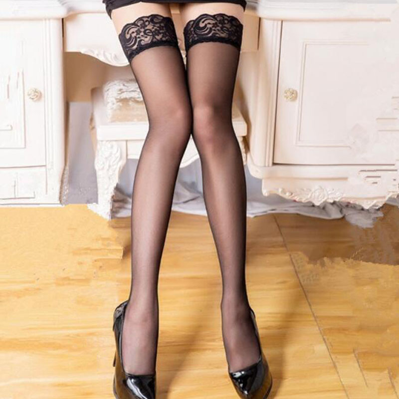 Lace Stockings For Women Sexy Hot Ultrathin Stockings Ladies Transparent Flower Stocking Black White Lace Over The Knee Socks