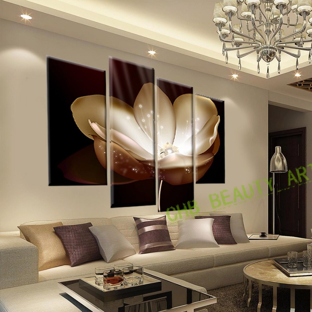 4 Panel Gold Flower Printed Painting Canvas Picture Wall ...