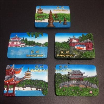 Shenzhen Hangzhou China Refrigerator Magnet Stickers Souvenirs 3D Resin  Handmade Painted Travel Fridge Magnets Home Decor