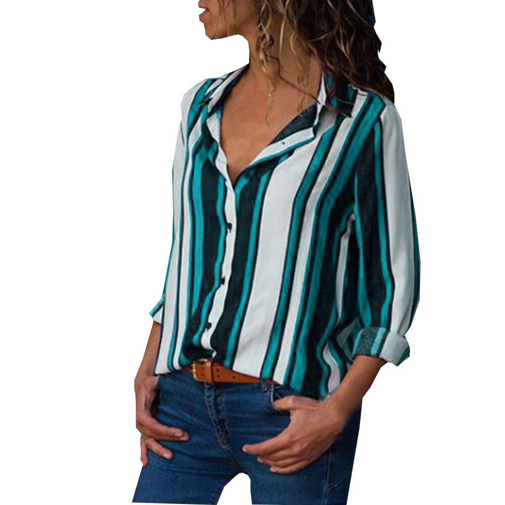 Women Casual Cuffed Long Sleeve V-Neck Button Up Striped Shirt Blouse Tops Fall