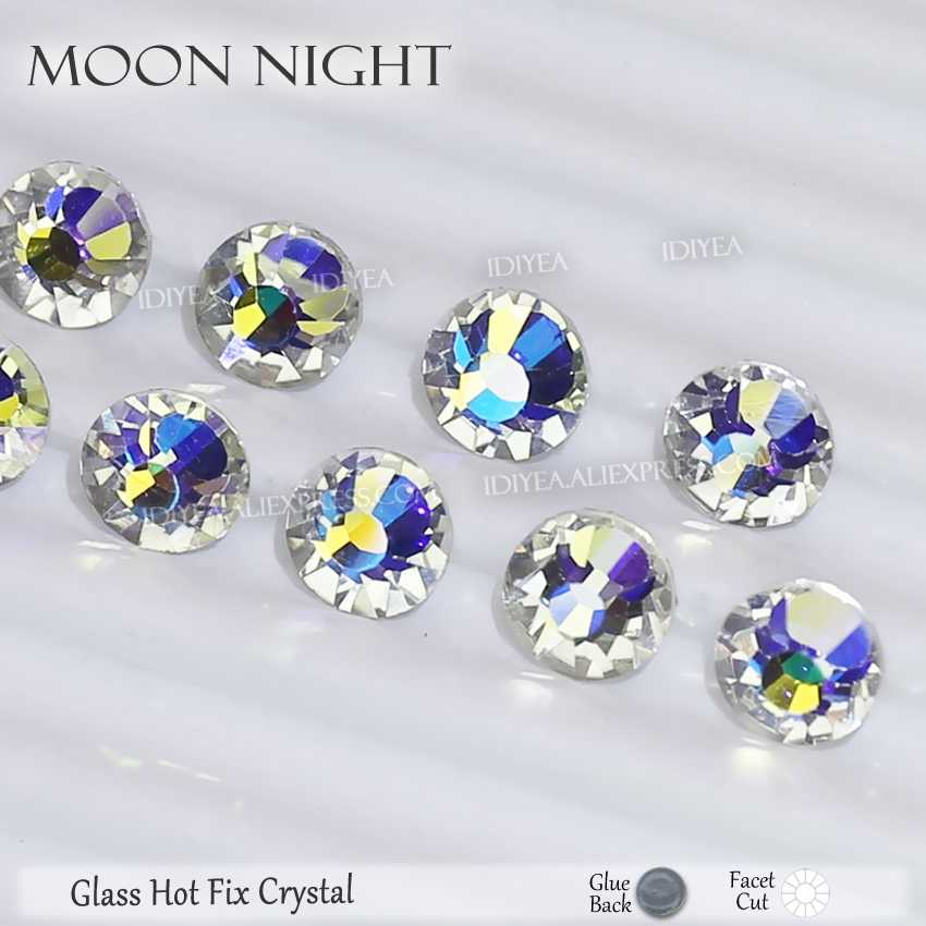 Moon Night hotfix rhinestones for needlework clothes flatback crystal hot fix stones strass glitters for fabric DIY decoration