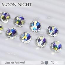 Moon Night hotfix rhinestones for needlework clothes flatback crystal hot fix stones strass glitters for fabric DIY decoration