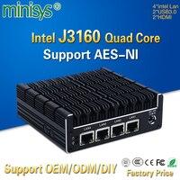 Minisys новых Кну Mini PC Celeron J3160 4 ядра 4 Intel i210AT Nic X86 компьютер мягкая маршрутизатор сервер Linux Поддержка Pfsense AES NI