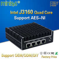 Minisys Nuovo NUC Mini PC Celeron J3160 Quad Core 4 Intel i210AT Nic X86 Computer Router Morbido Supporto Server Linux pfsense AES-NI