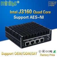 Minisys nowy NUC mini PC Celeron J3160 Quad Core 4 Intel i210AT Nic X86 komputer miękka Router serwer Linux wsparcie Pfsense AES-NI