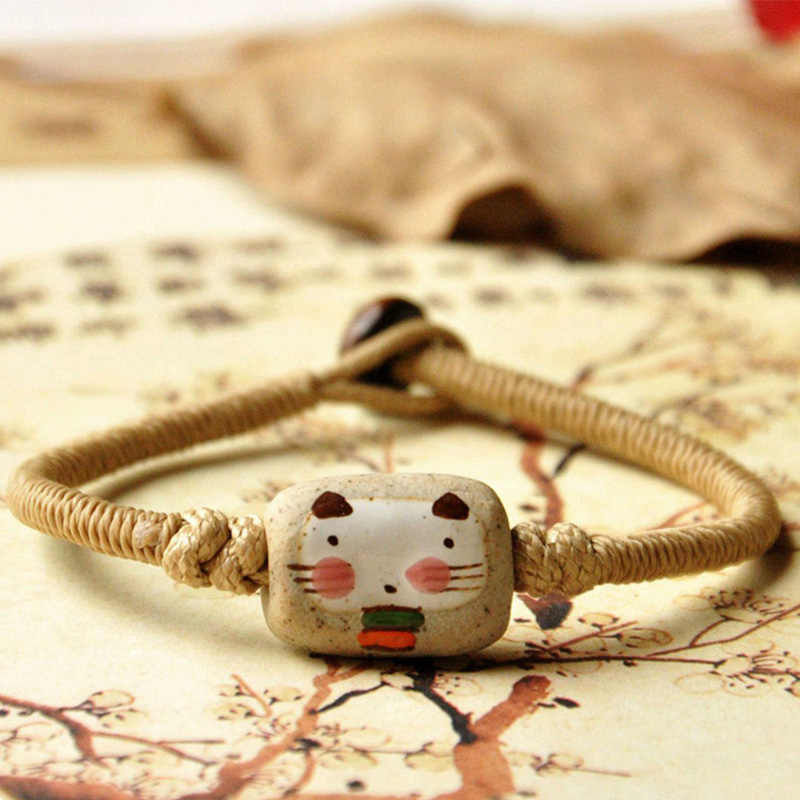 Cute Cat Bracelets Ceramic Beads Weave Rope Chain Cuff Bangles Charm Women Men Wristbands Ethnic Jewelry Fashion Accessories