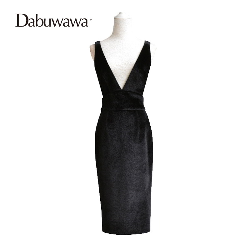 Dabuwawa Black Velvet Skirt Elegant Sequines Sheath Skirts For Juniors Knee Length Tight Sexy Slim Skirt Female #D15DRS004