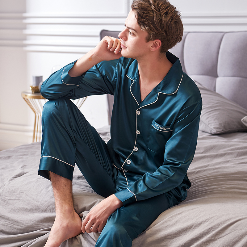 Xifenni Faux Silk Pajamas Male 2020 Autumn New Silky Ice Silk Sleepwear Man Long-Sleeve Solid Color Pajama Sets 9002