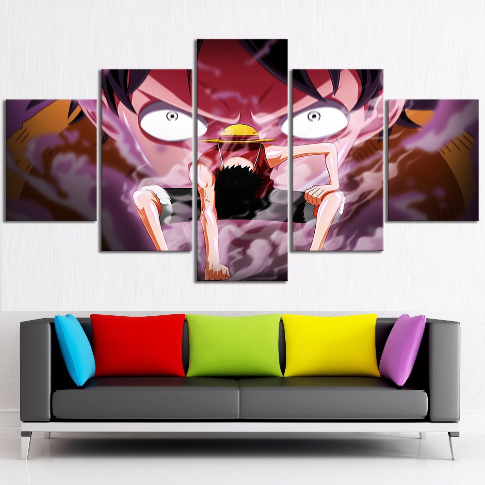 Us 13 44 16 Off 5 Piece Anime One Piece Monkey D Luffy Second Gear Oil Painting Movie Poster Pictures For Living Room Decor In Painting