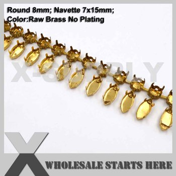 8mm Round&Navette Fringle Hollow Empty Cup Chain Without Crystals for Craft/Shoe/Jewelry/Apparel