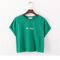 Merry pretty new fashion cute short sleeve t shirt letter print crop tops green summer cotton.jpg 200x200