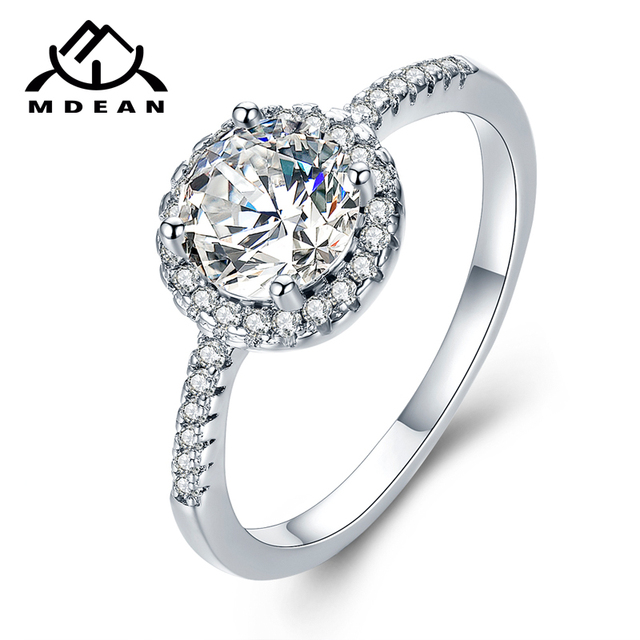 MDEAN Wedding Rings for Women Engagement Bague White Gold Color Accessories AAA