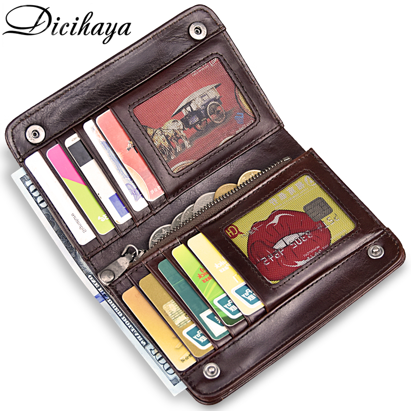 DICIHAYA Genuinem Leather Men Small Wallet Multifunction Big Capacity Vintage Wallet Brand High Quality Designer Short Purse