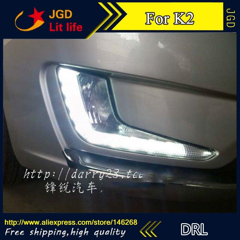 Free shipping ! 12V 6000k LED DRL Daytime running light for Kia K2 2011 fog lamp frame Fog light Car styling free shipping oem part for kia optima k5 fog lamp set light set 2011 2013
