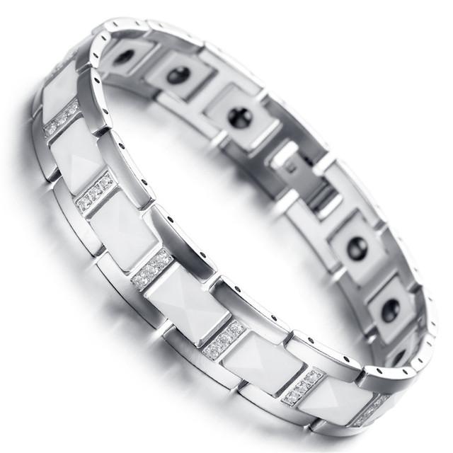 Hombres Pulsera Magnética del Tungsteno, blanco y Plata y Joyería de Cerámica con Cubic Zirconia Cadena de Eslabones KB1545