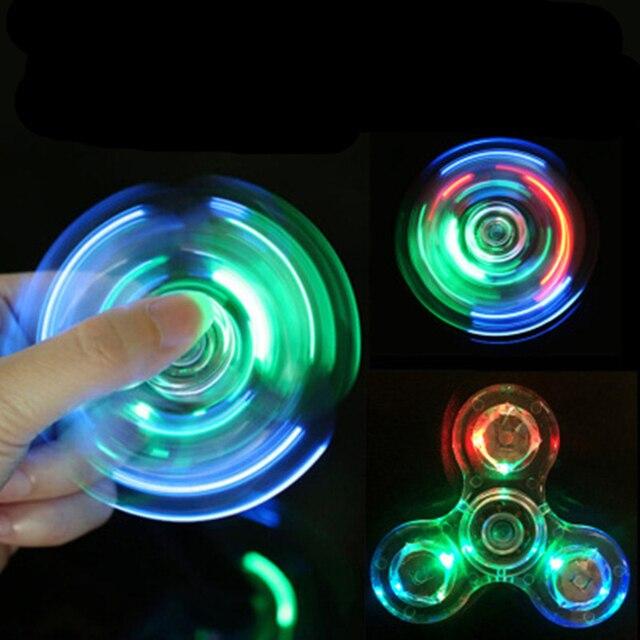 Luminous LED light Fidget Spinner Hand Top Spinners Glow in Dark Light EDC Figet Spiner Batman Finger Cube Stress Relief Toys