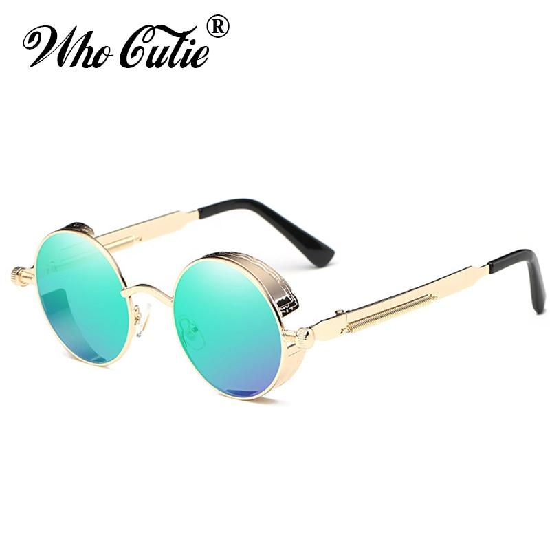 WHO CUTIE 2018 Round Shades Gothic Steampunk Sunglasses Men Women Brand Designer Rose Gold Pink Mirror Punk Male Sun Glasses 418 4