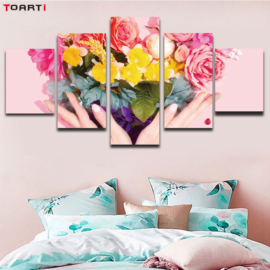 Heart flowers nordic poster HD wall art pirnt 5 pieces canvas painting modern pink picture artwork mural chart living room decor in Painting Calligraphy from Home Garden