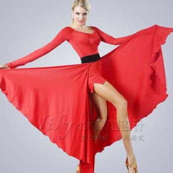 fashion Promotion New Women Ballroom Latin Dance Bullfight Dress Practice Two Sets Flamengo Skirt Set Hot Sale Freeshipping