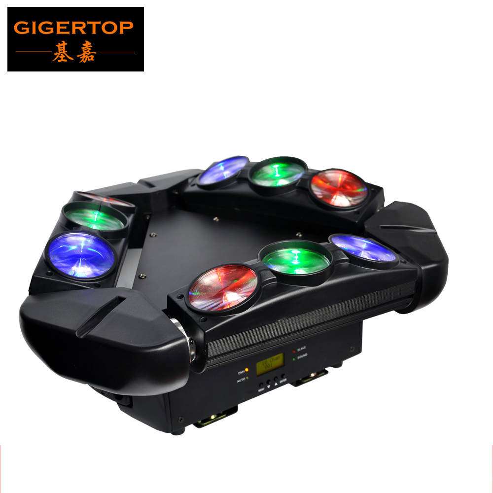 Newest 9 Eyes Pixel DMX Spider Led Beam Moving Head Light Kaos Adj Endless Rotating Head Light 90V-240V Infinite Rotation 9 moving head laser spider light green color 50mw 9 triangle spider moving head light laser dj light disco club event