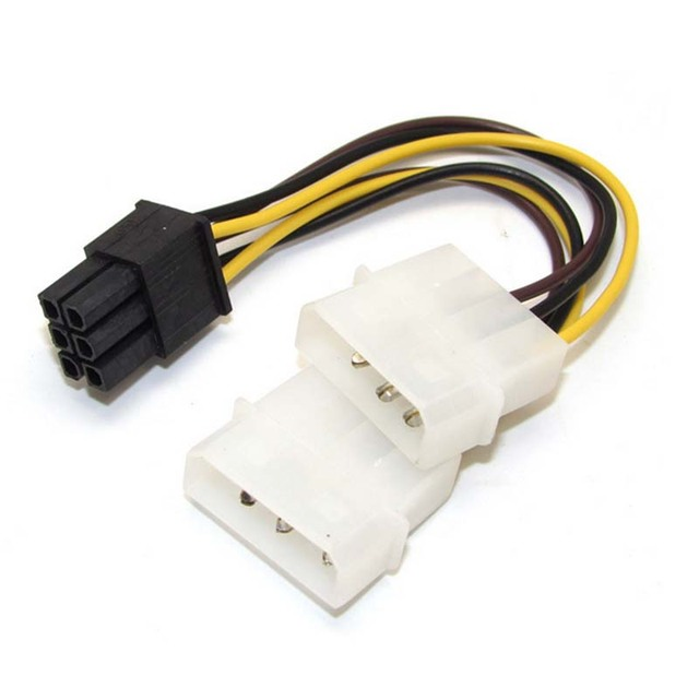 Dual 4 Pin Molex IDE to 6 Pin PCI E Graphic Card Y Power Cable ...