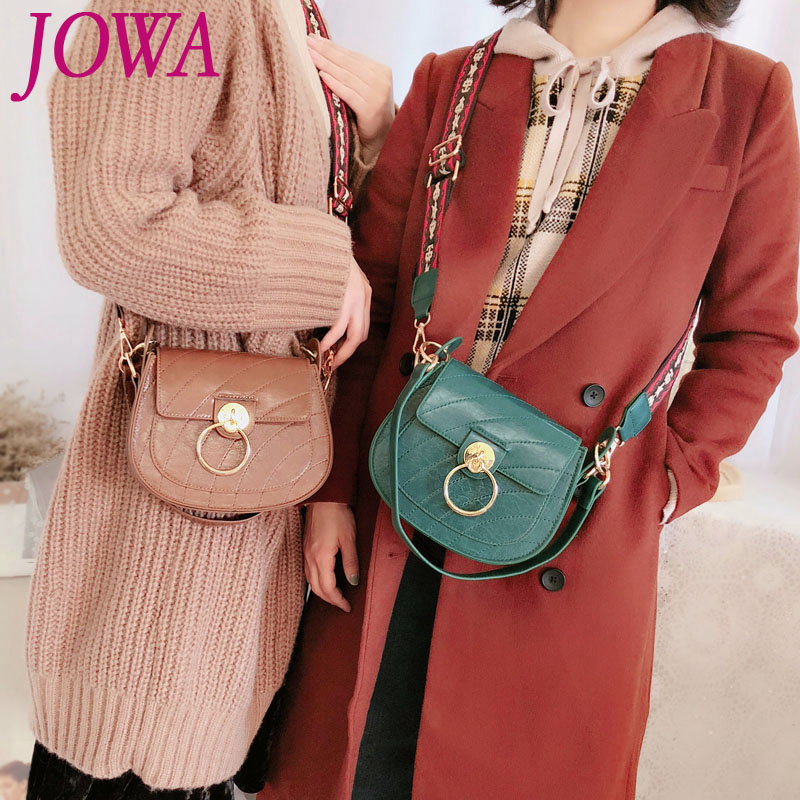 New Design Women Fashion Handbag Wide Shoulder Straps Bag Vintage Ring Cover Small Saddle All-Match PU Cross-Body Clutch 2 Color