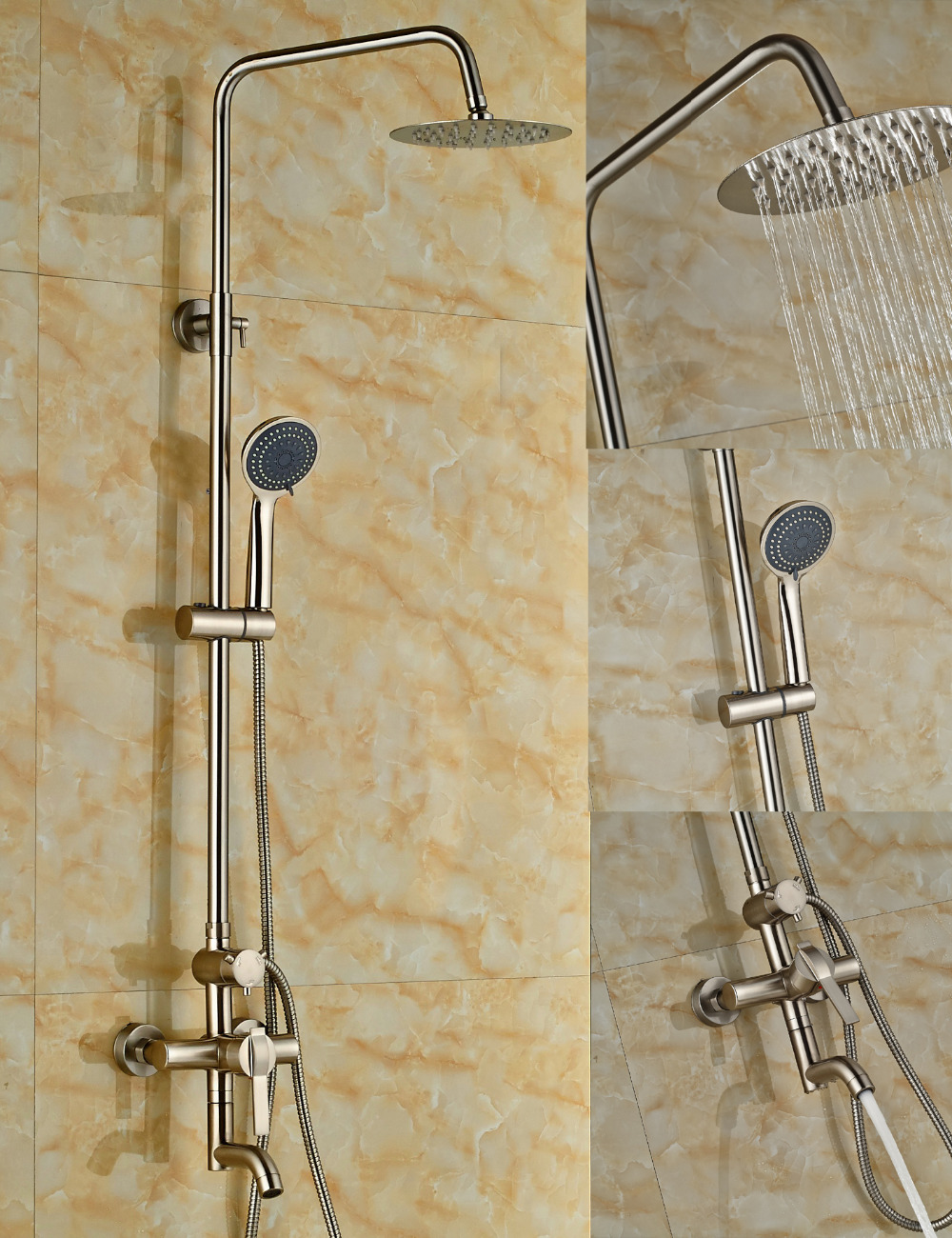 Wholesale And Retail Luxury Nickel Brushed 8 Brass Rain Shower Head Faucet Swivel Spout Mixer Tap W/ Hand Sprayer