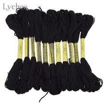 12 pçs preto ponto cruz bordado linha diy artesanal costura artesanato acessórios