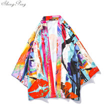 купить Japanese kimono traditional men yukata male samurai costume kimono clothing Japanese cosplay warrior costume haori Q725 дешево