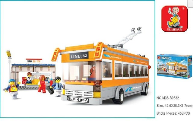 Luban City Bus Trolley Buses DIY 457pcs Compatible With Ligo Assembles Particles Block Toys Free Shipping