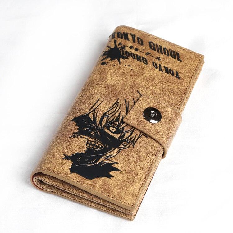 PU Khaki long wallet purse of Tokyo Ghoul Kaneki Ken mask W/ button long purse