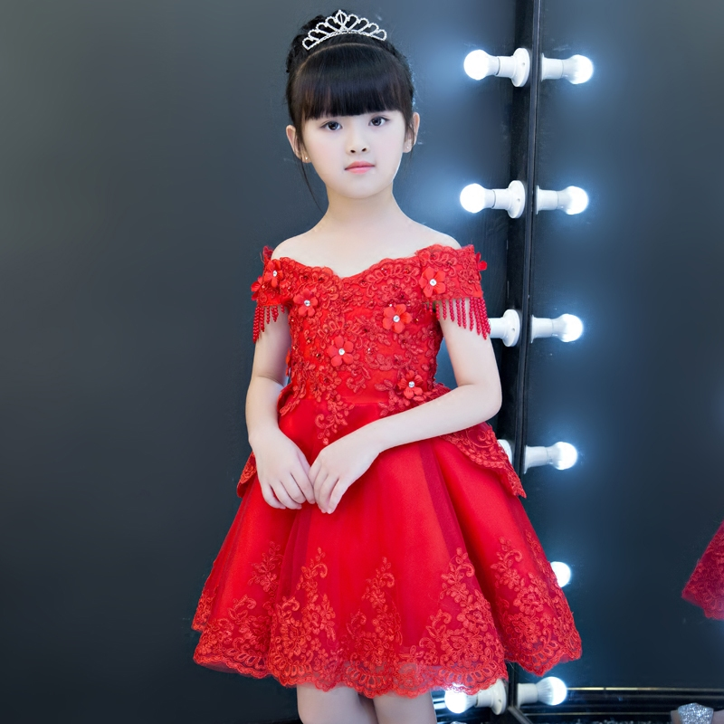 Kids Girls Red White Embroidered Flowers Formal Party Ball Gown Prom Princess Bridesmaid Wedding Children Tutu Dress Size 3-14Y цены онлайн
