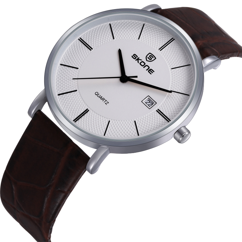 Skone Lovers' Simple Quartz Watches Ultra-thin Case Casual Leather Band Wristwatch Unisex Business Watch For Men Women Clock