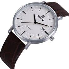 Skone Amantes Simple Relojes de Cuarzo Ultra-delgado Caso de Cuero Casual Band Reloj de Pulsera Unisex Negocios Reloj para Hombres Mujeres Reloj