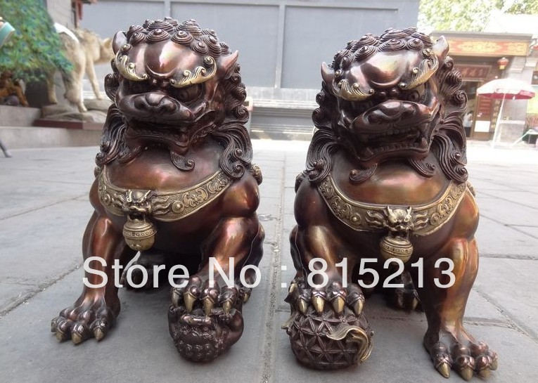 wang 000253 12 Chinese Pure Bronze Gilt Carved FengShui Foo Fu Dog Lion Ball Statue 1PCwang 000253 12 Chinese Pure Bronze Gilt Carved FengShui Foo Fu Dog Lion Ball Statue 1PC