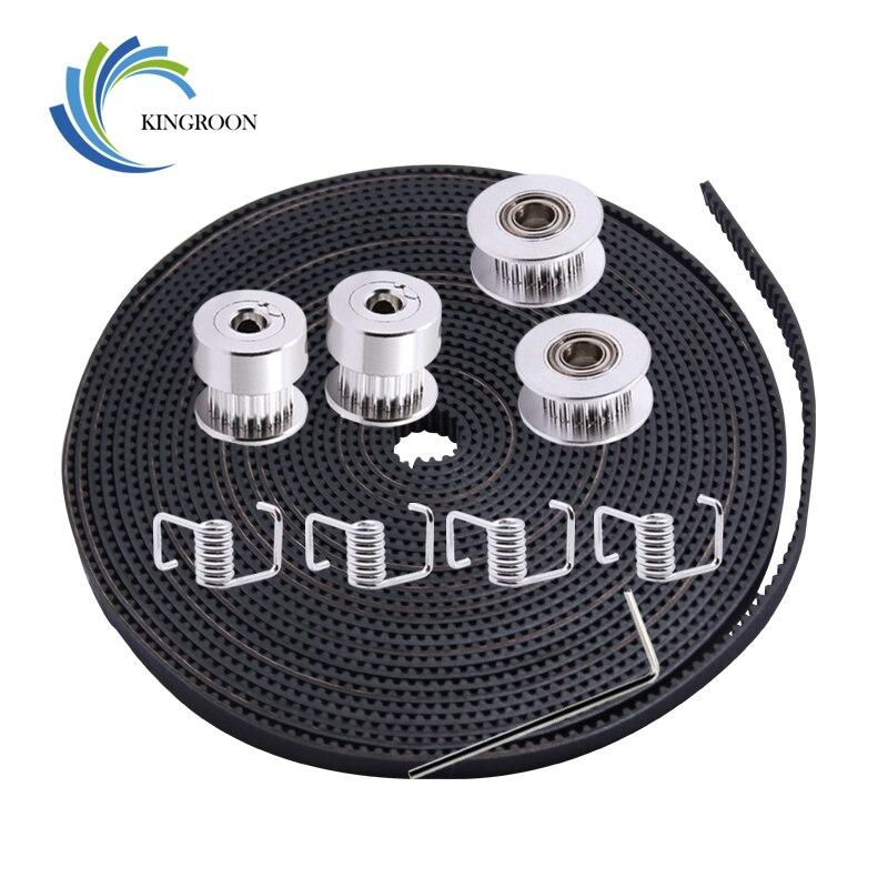 KINGROON 5 M 6mm GT2 cinturón + 2 piezas 20 dientes 5mm polea + 2 piezas polea loca + 4 piezas de muelle de torsión + 1 unid 2mm llave Kit para 3D impresora