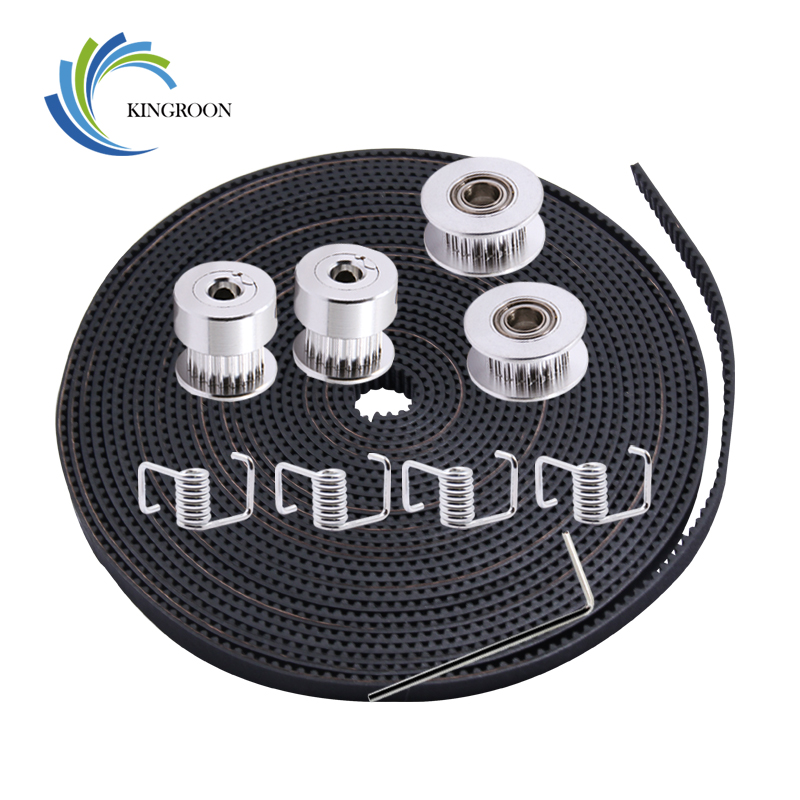 KINGROON 5M 6mm GT2 Belt+2PCS 20 Teeth 5mm Timing Pulley+2PCS Idler Pulley+4PCS Torsion Spring+1PC 2mm Wrench Kit For 3D PrinterKINGROON 5M 6mm GT2 Belt+2PCS 20 Teeth 5mm Timing Pulley+2PCS Idler Pulley+4PCS Torsion Spring+1PC 2mm Wrench Kit For 3D Printer