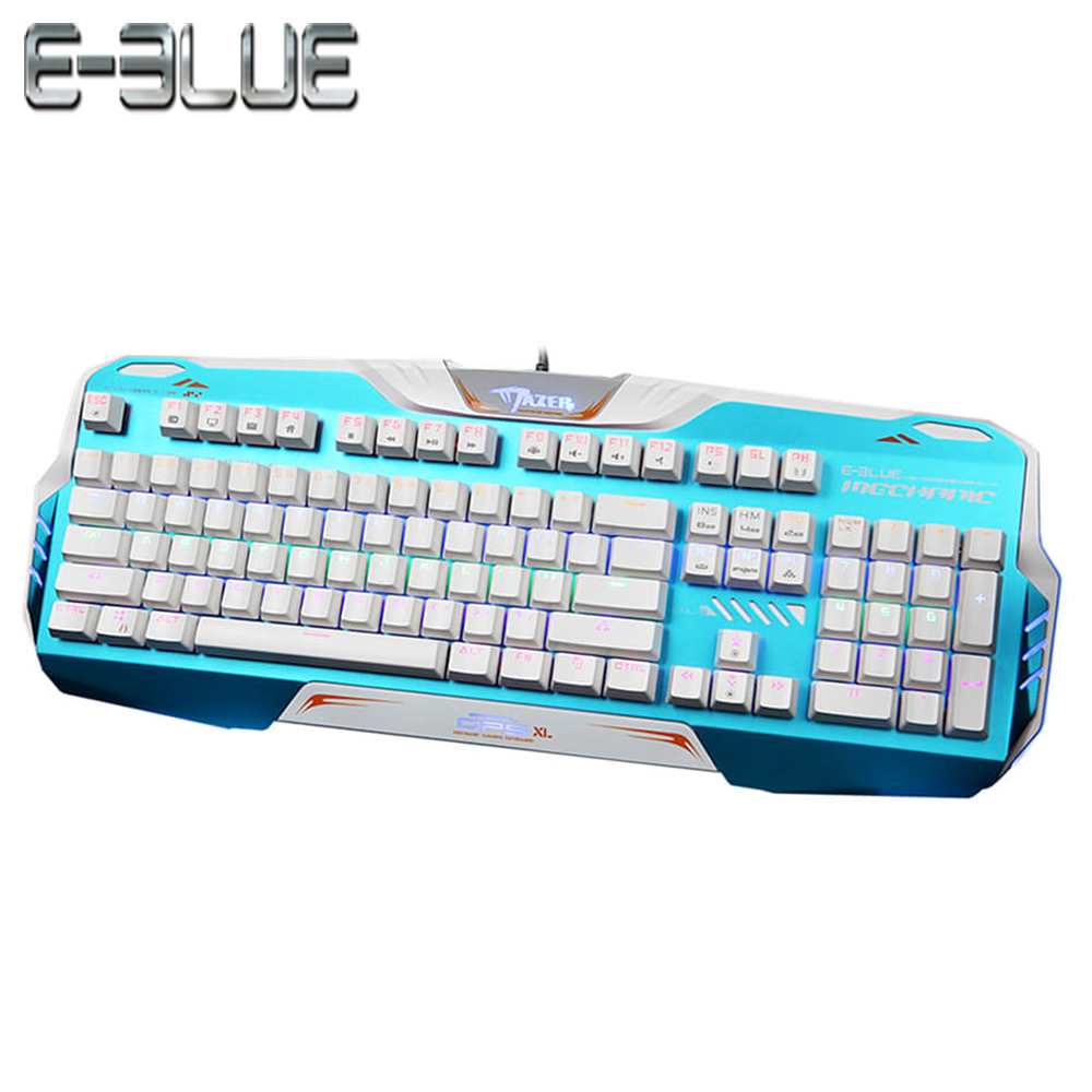 E-3LUE Gaming Keyboard RGB Backlit Blue/Black Switch Colorful LED adapt working and gaming Full N-key rollover function Keyboard