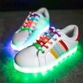LIN REY Cordón Zapatos Mujeres Luminoso Luz Led Para Arriba Los Zapatos Del Arco Iris Zapatos Mujer Chaussure Glowing Led Recargable USB Hembra