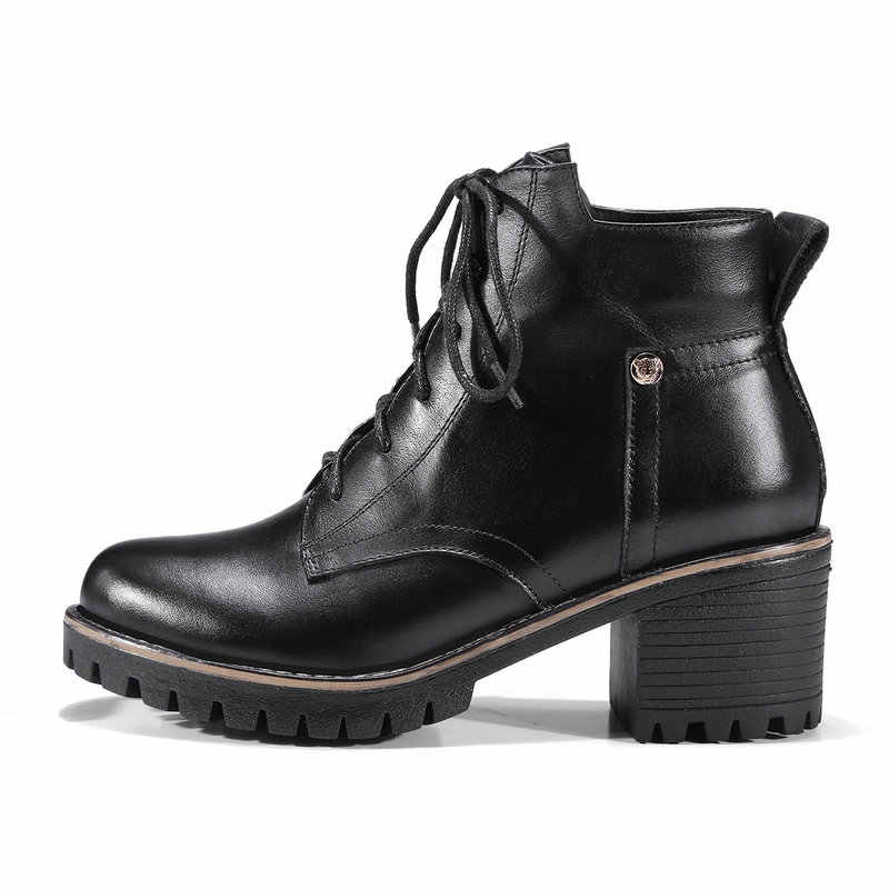 Kadın Platformu Çizmeler Kalın Topuk yarım çizmeler Yumuşak Siyah Pu Deri Lace Up Moda Çizmeler Sonbahar Kış Artı Boyutu Ayakkabı 2018 yeni