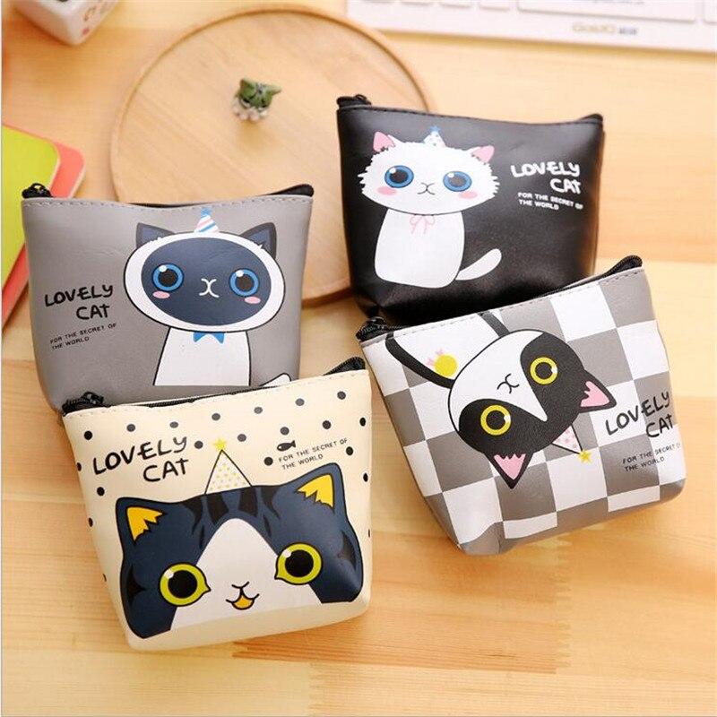1 Pcs Mini Purse Zipper Lovely Kawaii Candy Color Cartoon Cat Animal Women Girls Wallet Key Case Coin Small Purses Kids carteira