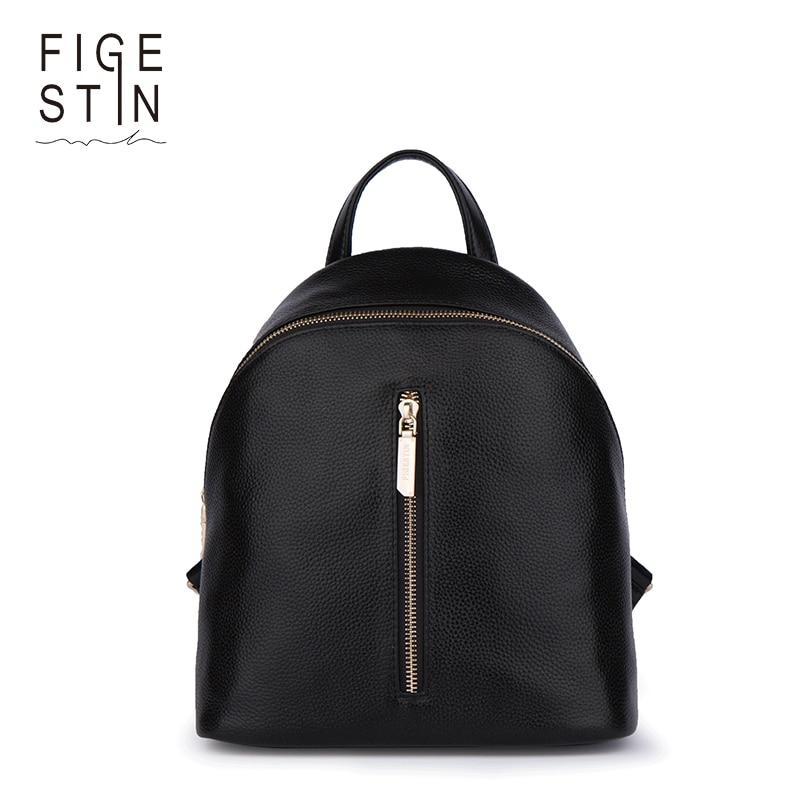 FIGESTIN Mini Backpacks for Women Fashion Real Genuine Leather Black Blue Pink Soft Top handle Backpack