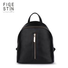 Figestin мини-рюкзаки для женщин Мода Настоящее Натуральная кожа черный/синий/розовый мягкий Топ-ручка рюкзак Портативный девушка школьная сумка