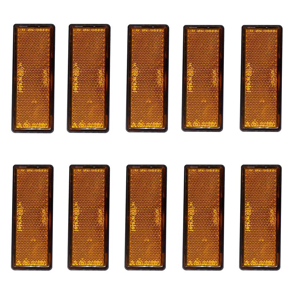 10 Pcs/set Self-Adhesive Amber Orange Oblong Rectangular Trailer Reflectors Car Accessories